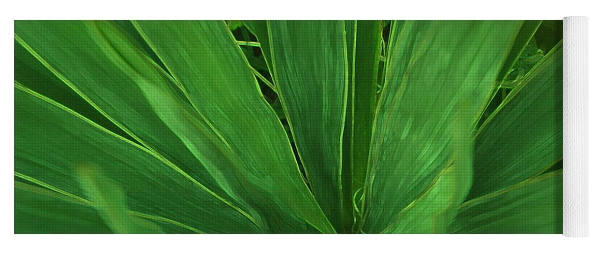 Green Plant Yoga Mat featuring the photograph Green Glow by Linda Sannuti