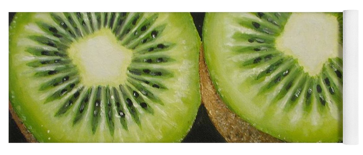 Abstract Yoga Mat featuring the painting Green kiwi oil painting by Natalja Picugina