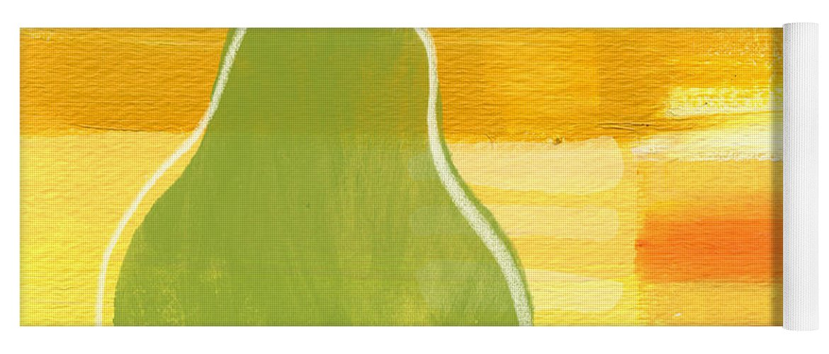 Pear Yoga Mat featuring the painting Green Pear- Art by Linda Woods by Linda Woods