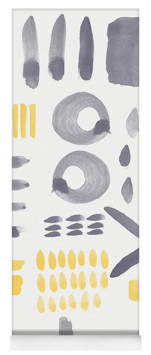 Grey And Yellow Yoga Mat featuring the painting Grey and Yellow Shapes- abstract painting by Linda Woods