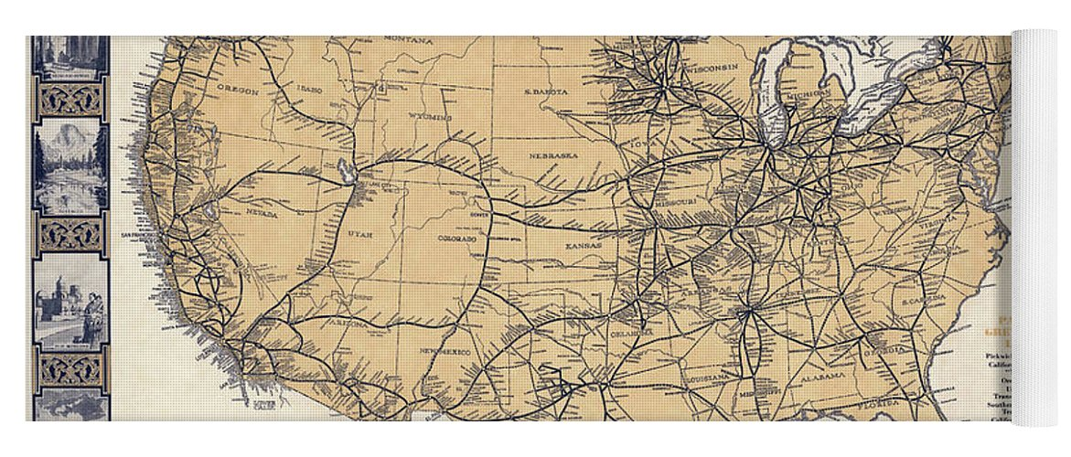 Greyhound Bus Route Map C. 1932 Yoga Mat