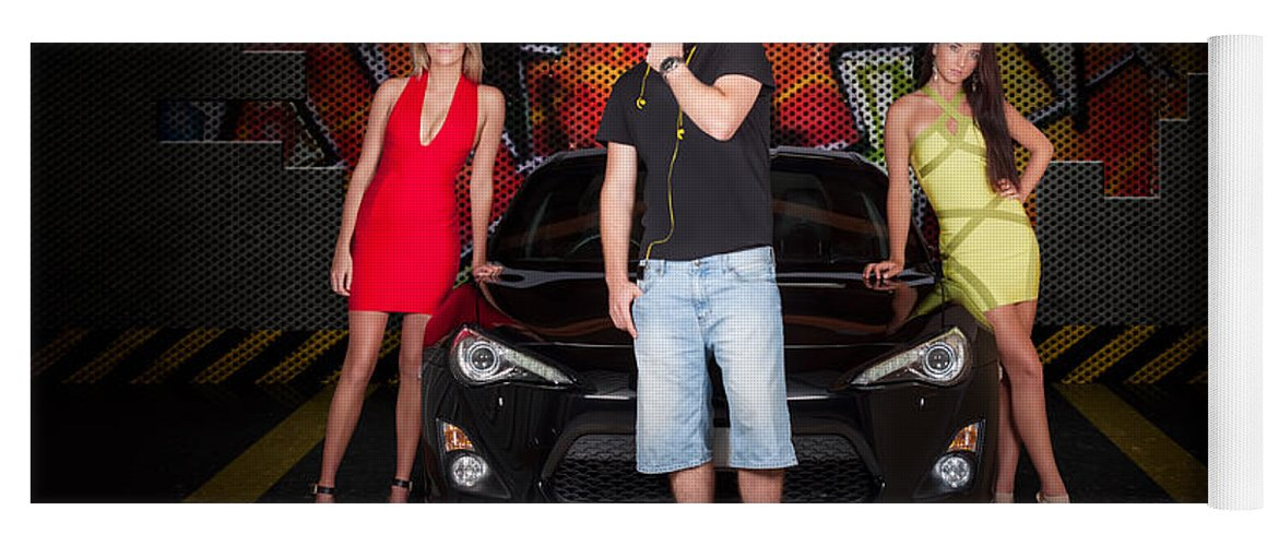 People Yoga Mat featuring the photograph Group Of Young People Beside Black Modern Car by Jorgo Photography - Wall Art Gallery