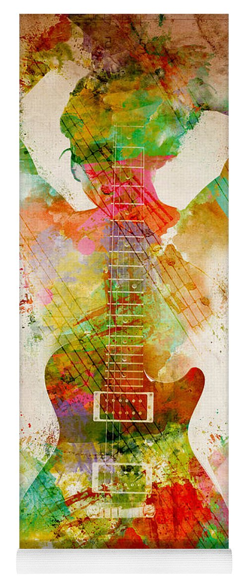 Guitar Yoga Mat featuring the digital art Guitar Siren by Nikki Smith