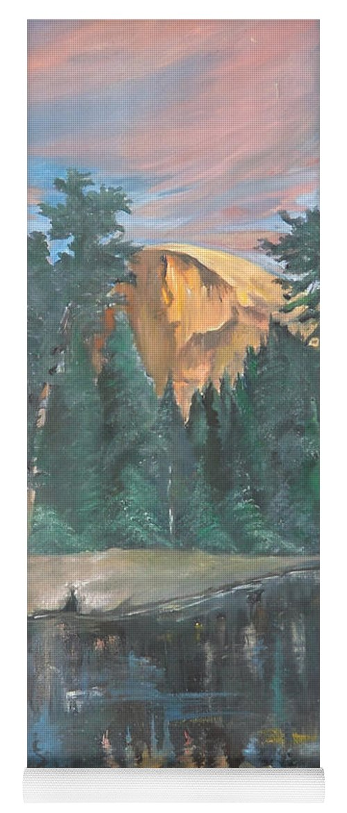 Sunset Yoga Mat featuring the painting Half Dome Sunset by Travis Day