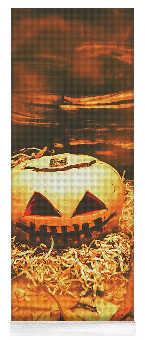 Pumpkin Yoga Mat featuring the photograph Halloween In Fall. Still Life Pumpkin Head by Jorgo Photography - Wall Art Gallery