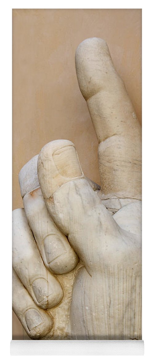 8eea30dae86 Works Yoga Mat featuring the photograph Hand With Pointing Index Finger.  Statue Of Constantine.