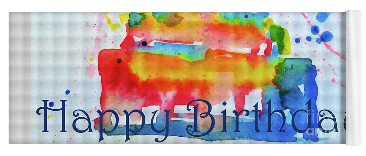Birthday Yoga Mat featuring the painting Happy Birthday Blue Cake by Claire  Bull e4be295b86ccc
