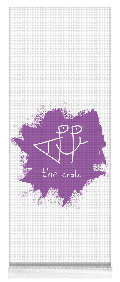 Happy Yoga Mat featuring the mixed media Happy The Crab - Purple by Chris N Rohrbach