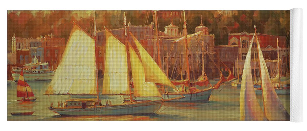 Nostalgia Yoga Mat featuring the painting Harbor Faire by Steve Henderson