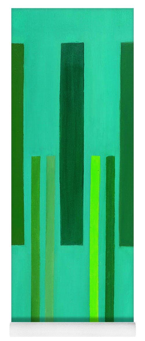 He Tu Yoga Mat featuring the painting He Tu Wood by Adamantini Feng shui