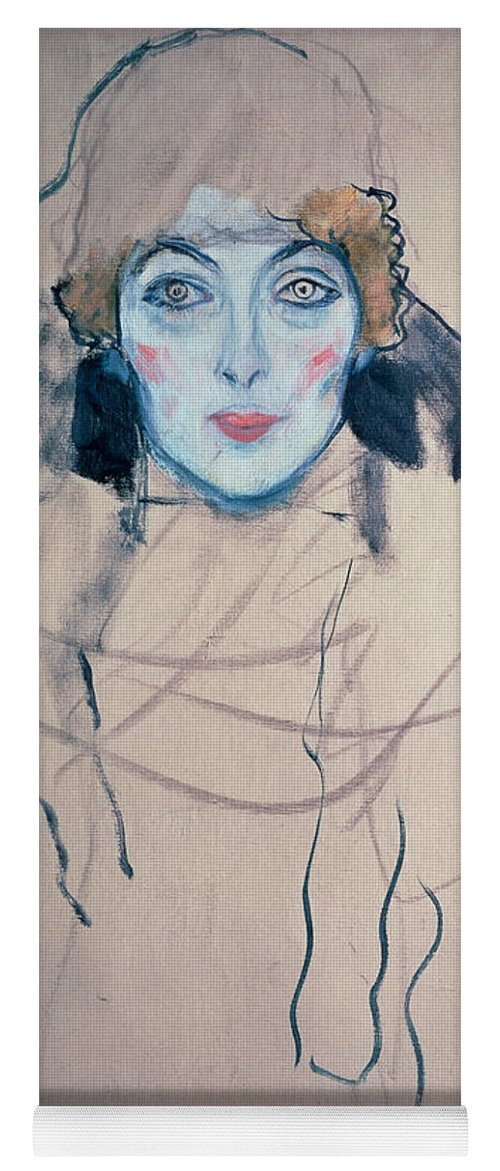 Klimt Yoga Mat featuring the drawing Head Of A Woman by Gustav Klimt