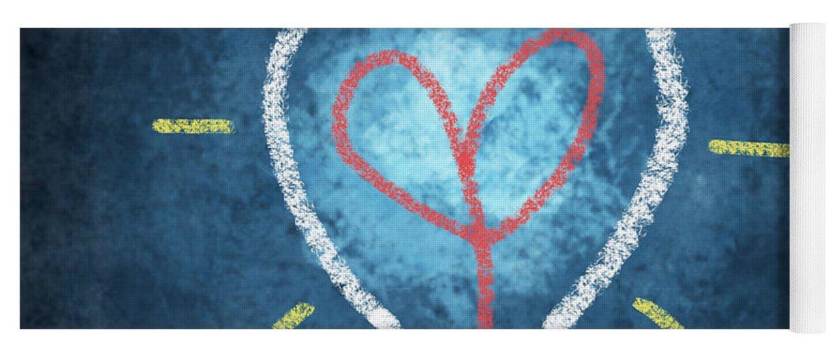 Attentive Yoga Mat featuring the photograph Heart In Light Bulb by Setsiri Silapasuwanchai