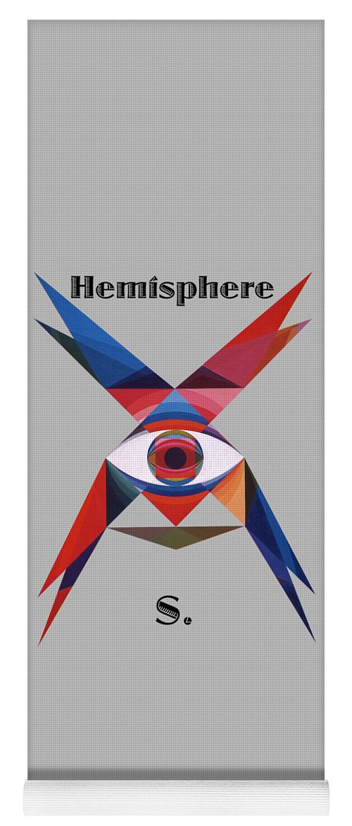 Painting Yoga Mat featuring the painting Hemisphere S. text by Michael Bellon