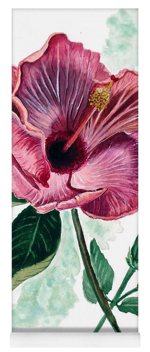 Flora Painting L Hibiscus Painting Pink Flower Painting Greeting Card Painting Yoga Mat featuring the painting Hibiscus Dusky Rose by Karin Dawn Kelshall- Best
