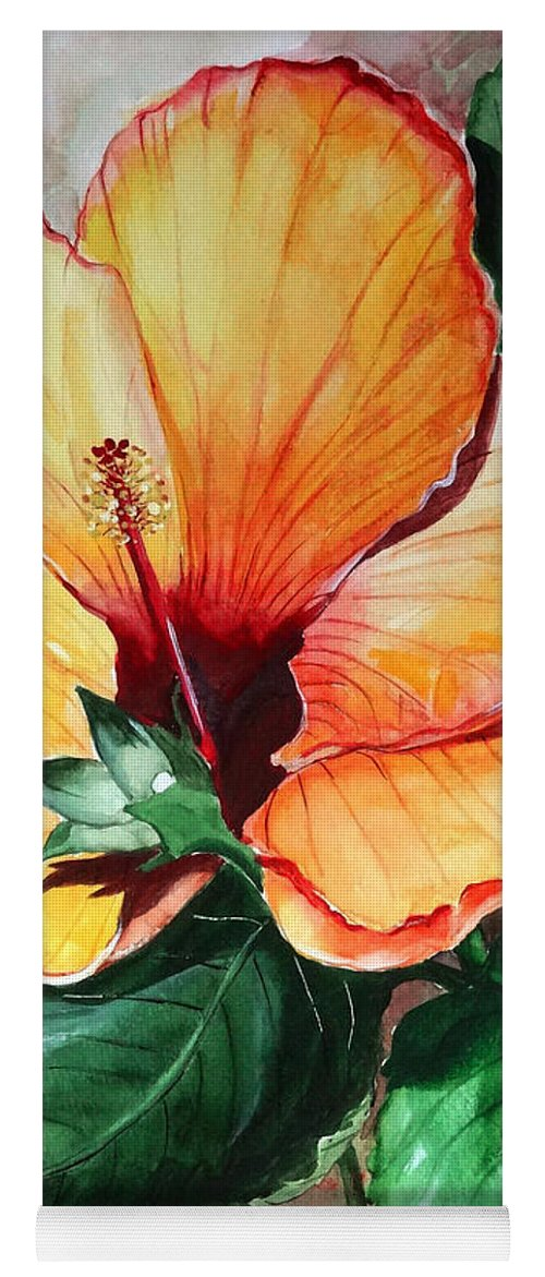Flower Paintings Bloom Paintings Caribbean Paintings Floral Paintings Tropical Paintings Yellow Hibiscus Paintings Greeting Card Paintings Canvas Print Paintings Poster Art Paintings Yoga Mat featuring the painting Hibiscus Sunny by Karin Dawn Kelshall- Best