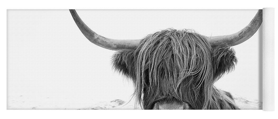 Highland Cow Yoga Mat featuring the photograph Highland Cow mono by Grant Glendinning