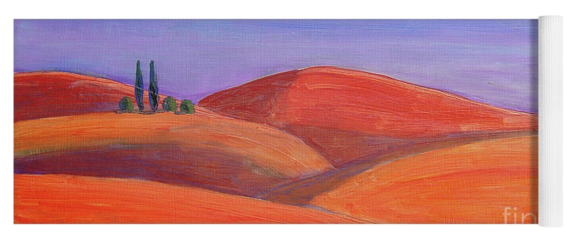 Tuscan Yoga Mat featuring the painting Hill Tops by Lilibeth Andre