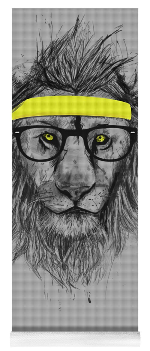Lion Yoga Mat featuring the drawing Hipster Lion by Balazs Solti