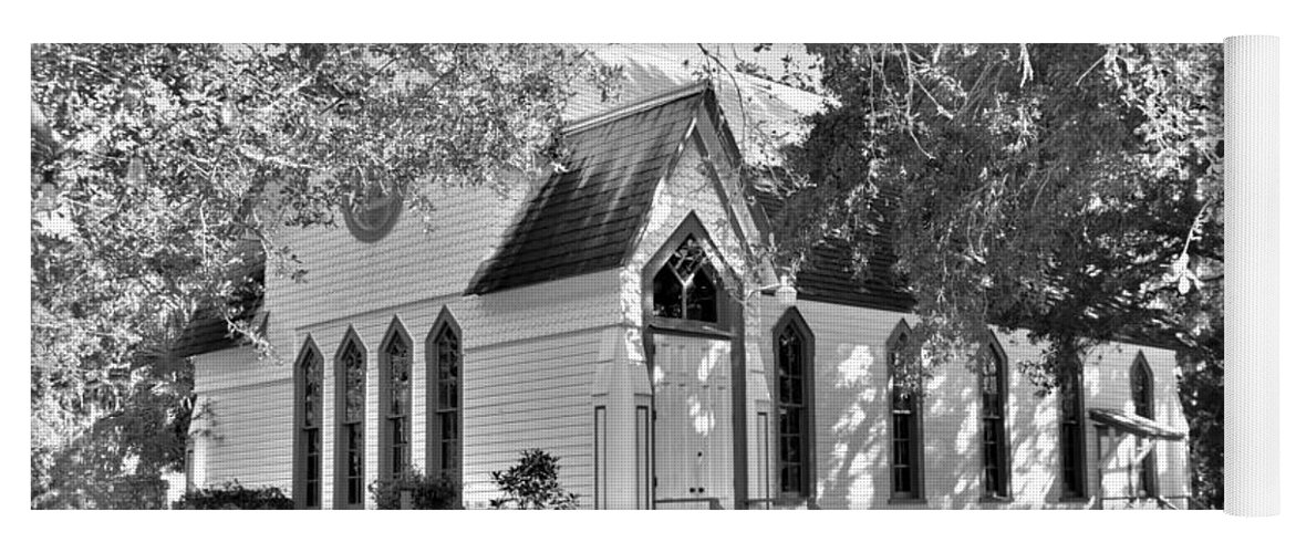 Historic Andrews Memorial Chape Dunedin Florida Black And Whitel Yoga Mat featuring the photograph Historic Andrews Memorial Chapel Dunedin Florida Black And White by Lisa Wooten
