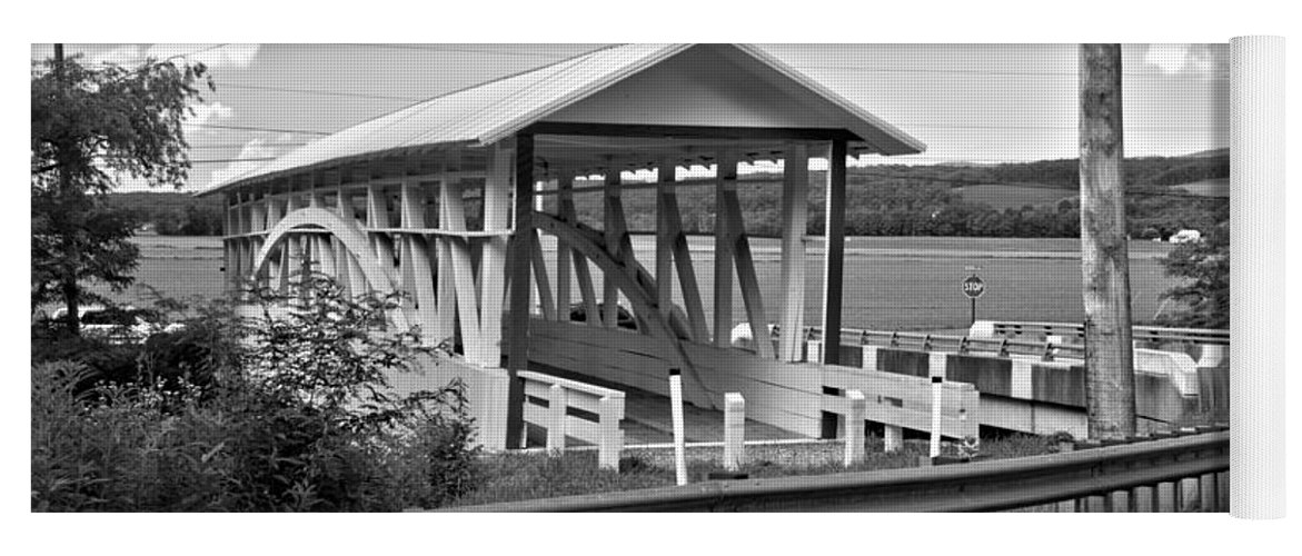 Bowser Coverd Bridge Yoga Mat featuring the photograph History At The Bend Black And White by Adam Jewell