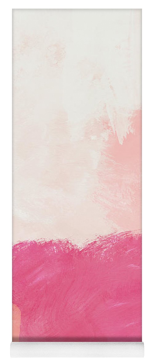 Abstract Yoga Mat featuring the mixed media History of Pink- Abstract Art by Linda Woods by Linda Woods