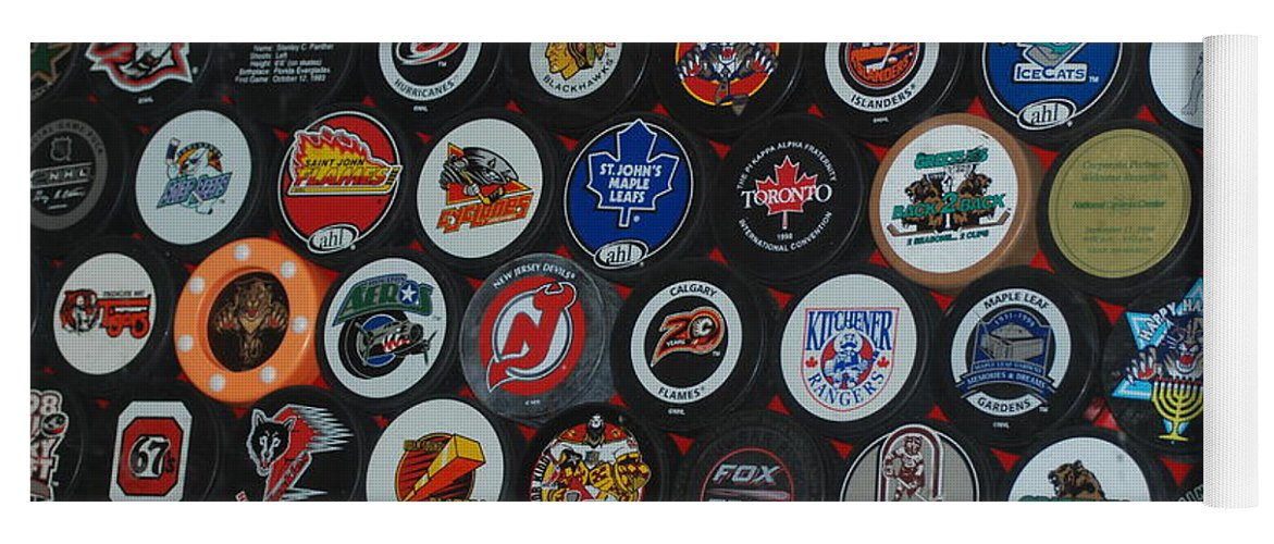 Pop Art Yoga Mat featuring the photograph Hockey Pucks by Rob Hans