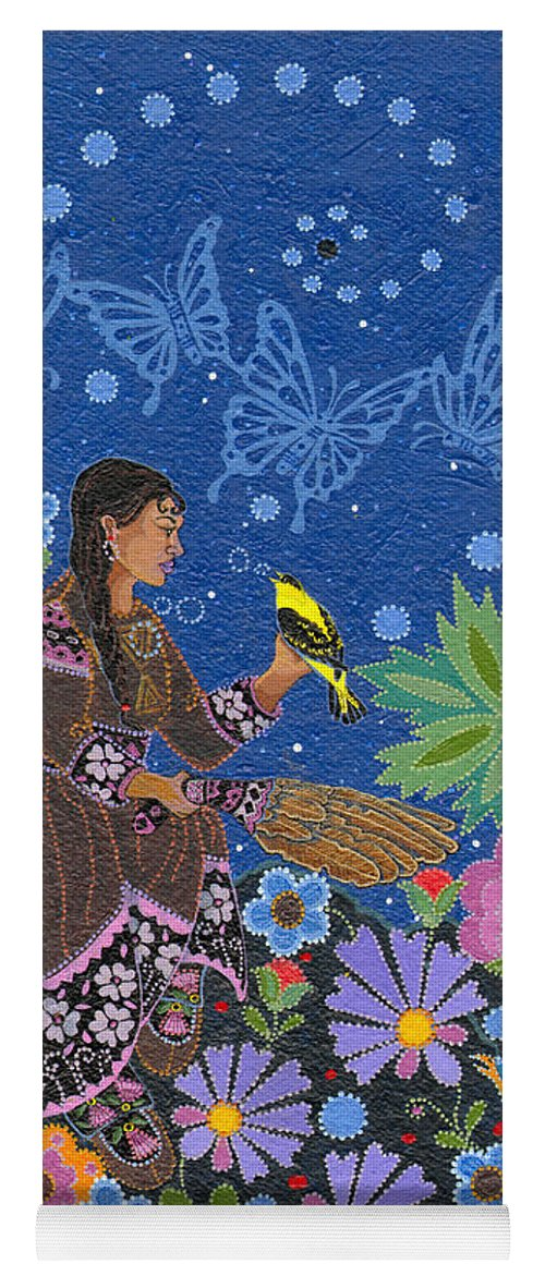 Native Women Yoga Mat featuring the painting Hole In the Sky's Daughter by Chholing Taha
