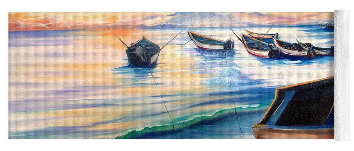 Ocean Painting Caribbean Painting Seascape Painting Beach Painting Fishing Boats Painting Sunset Painting Blue Palm Trees Fisherman Trinidad And Tobago Painting Tropical Painting Yoga Mat featuring the painting Home From The Sea by Karin Dawn Kelshall- Best