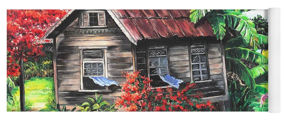 Caribbean House Yoga Mat featuring the painting Home Sweet Home by Karin Dawn Kelshall- Best