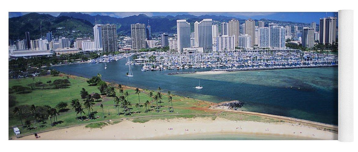 Above Yoga Mat featuring the photograph Honolulu, Oahu by Dana Edmunds - Printscapes