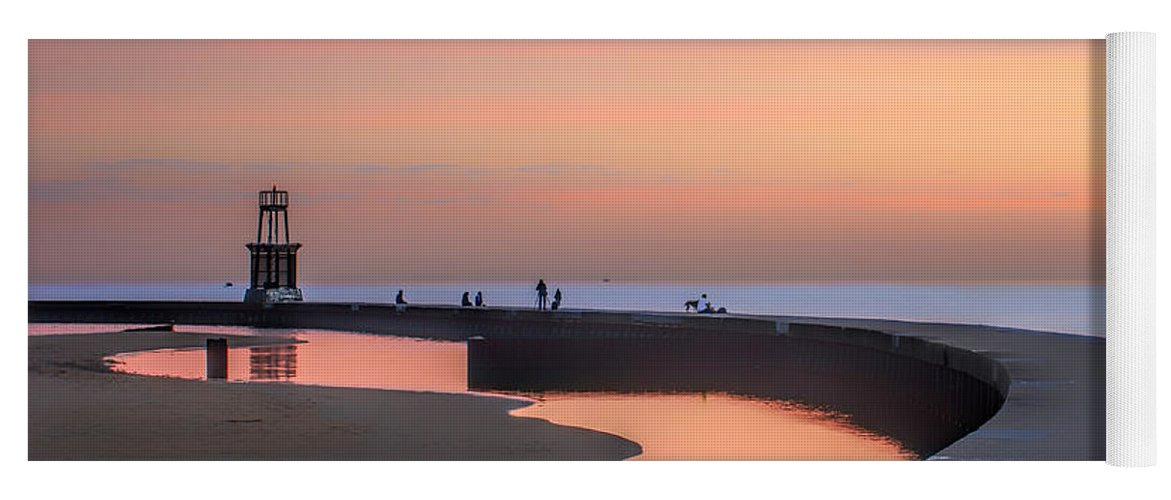 Dawn Yoga Mat featuring the photograph Hook Pier Lighthouse - Chicago by Nikolyn McDonald