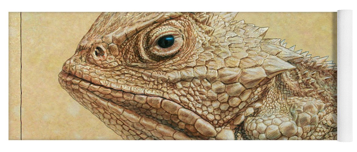 Horned Toad Yoga Mat featuring the painting Horned Toad by James W Johnson