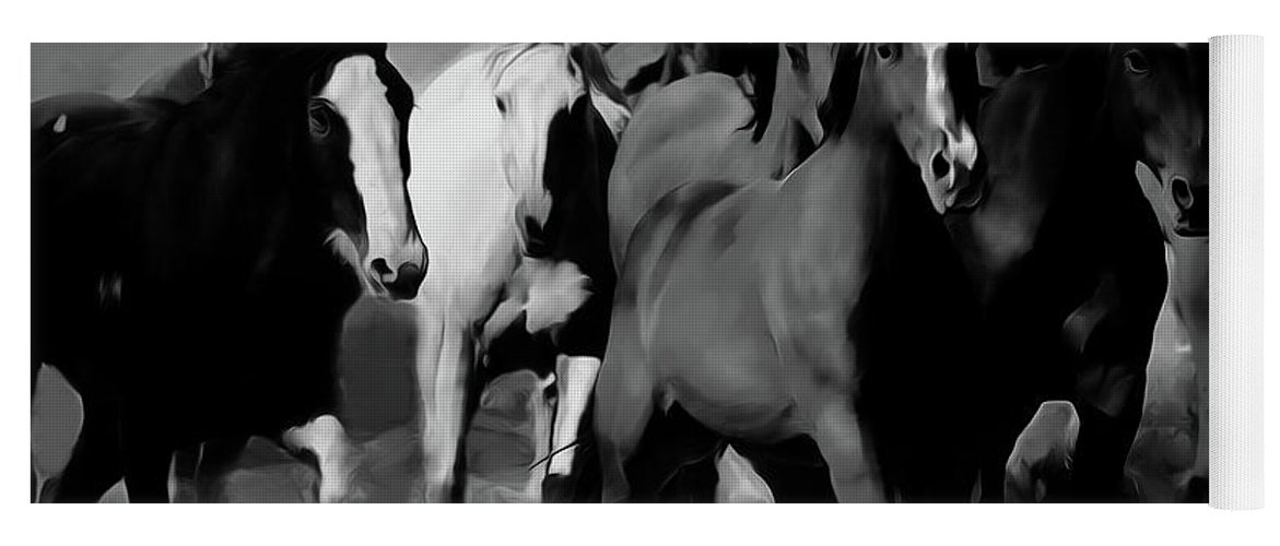 Wild Horse Yoga Mat featuring the painting Horses Stampede 01 by Gull G