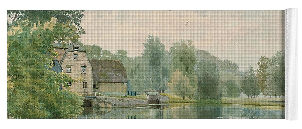 Landscape Yoga Mat featuring the painting Houghton Mill On The River Ouse by William Fraser Garden