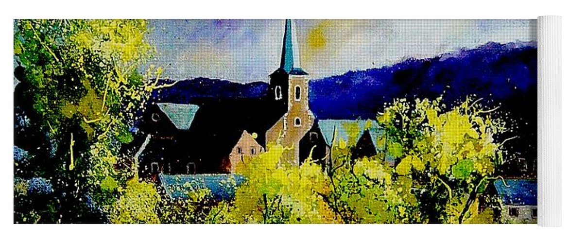 Poppies Yoga Mat featuring the painting Hour Village Belgium by Pol Ledent