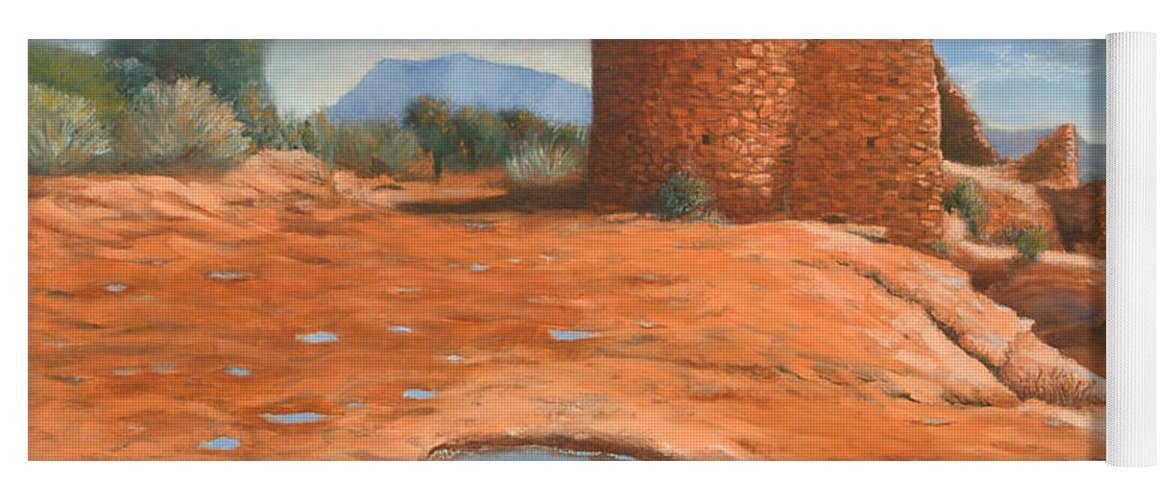 Anasazi Yoga Mat featuring the painting Hovenweep Reflection by Jerry McElroy