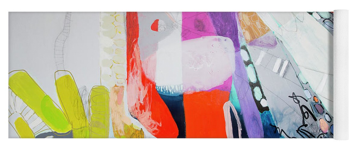 Abstract Yoga Mat featuring the painting How Many Fingers? by Claire Desjardins