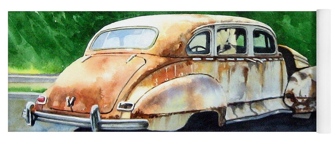 Hudson Car Rust Restore Yoga Mat featuring the painting Hudson Waiting For a New Start by Ron Morrison