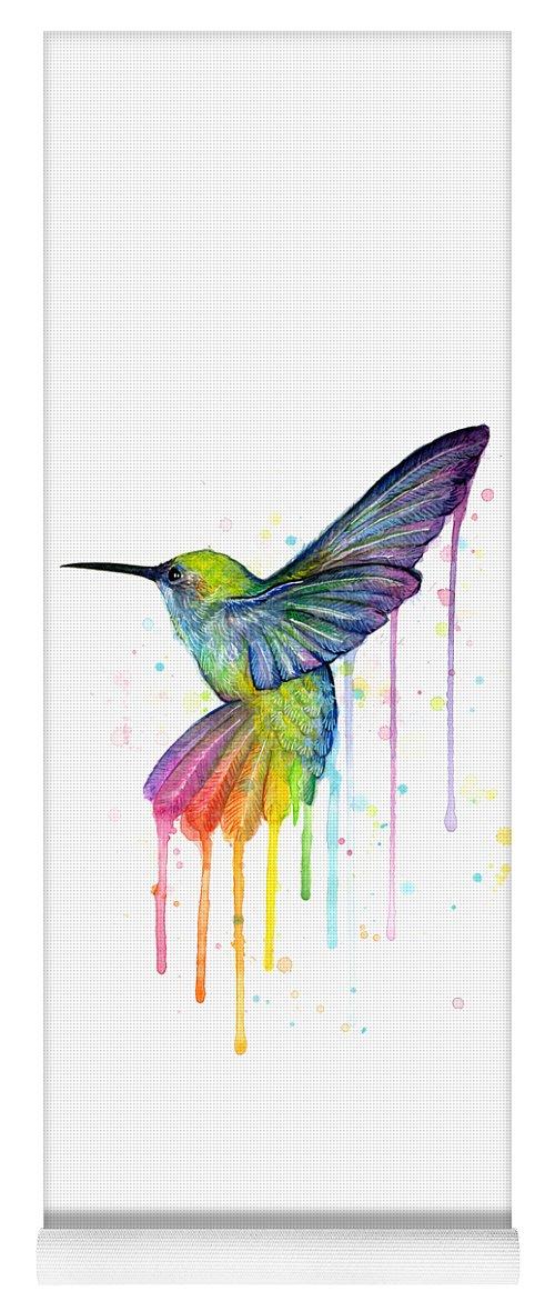 Hummingbird Yoga Mat featuring the painting Hummingbird of Watercolor Rainbow by Olga Shvartsur
