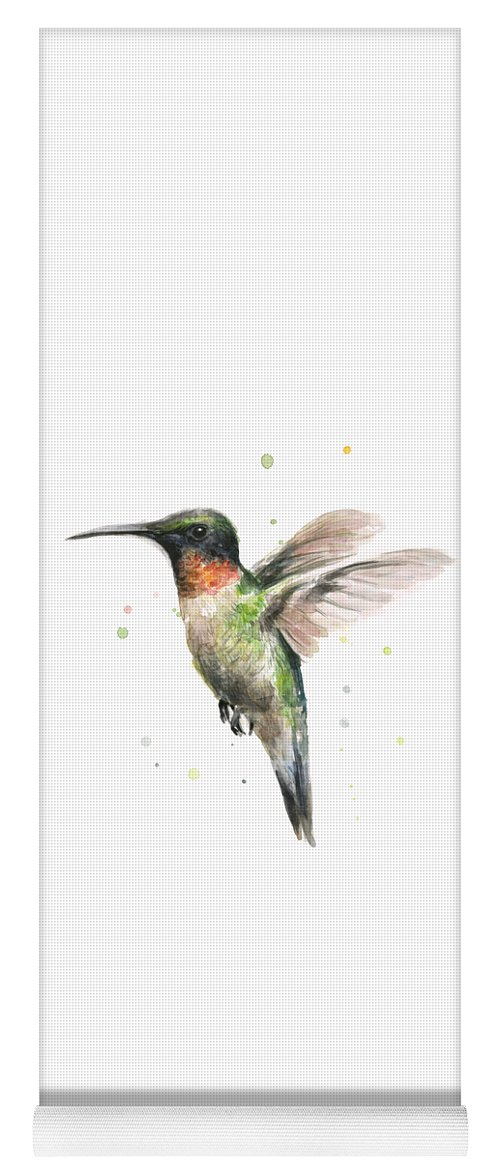 Animal Yoga Mat featuring the painting Hummingbird by Olga Shvartsur