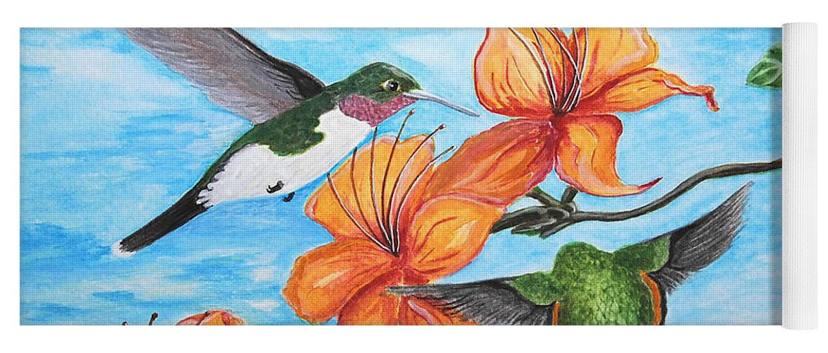 Nature Yoga Mat featuring the painting Hummingbirds by Vallee Johnson