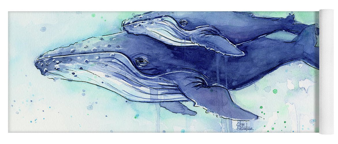 Whale Yoga Mat featuring the painting Humpback Whale Mom And Baby Watercolor by Olga Shvartsur