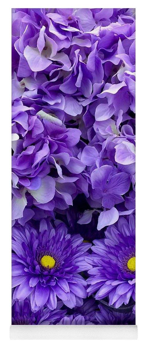 Hydrangea Yoga Mat featuring the painting Hydrangeas And Daisies So Purple by Saundra Myles