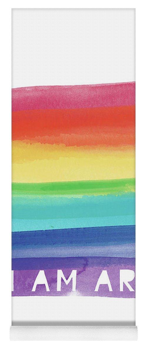 Rainbow Yoga Mat featuring the painting I Am Art Rainbow Stripe- Art By Linda Woods by Linda Woods