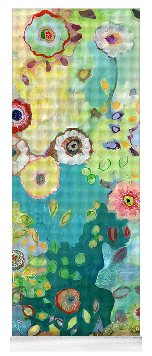 Floral Yoga Mat featuring the painting I Am by Jennifer Lommers