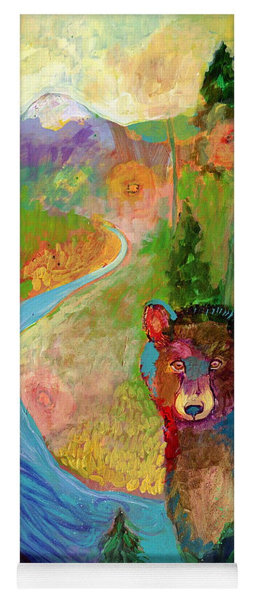 Bear Yoga Mat featuring the painting I Am The Mountain Stream by Jennifer Lommers