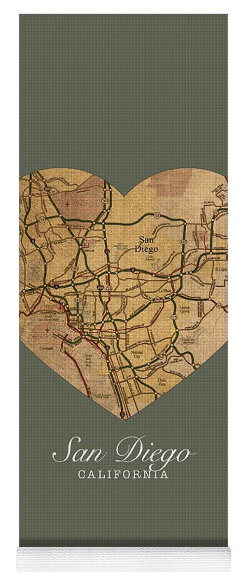 Vintage San Diego Map.I Heart San Diego California Vintage City Street Map Americana