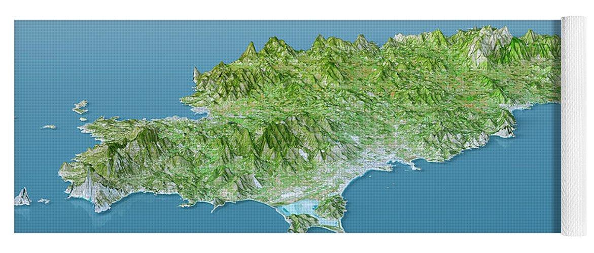 Ibiza Topographic Map 3d Landscape View Natural Color Yoga Mat for ...