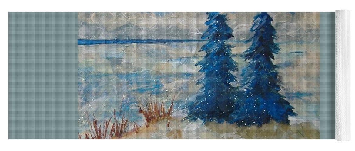 Landscape Yoga Mat featuring the mixed media Ice On Lake Erie by Pat Snook