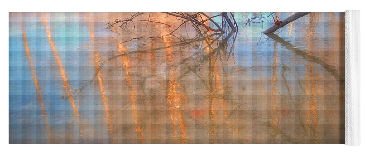 Ice Yoga Mat featuring the photograph Ice Reflections 2 by Tara Turner